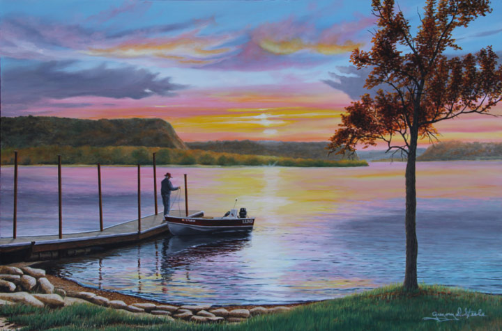 Painting of a man on a dock fishing with the sun setting in the distance over a lake.