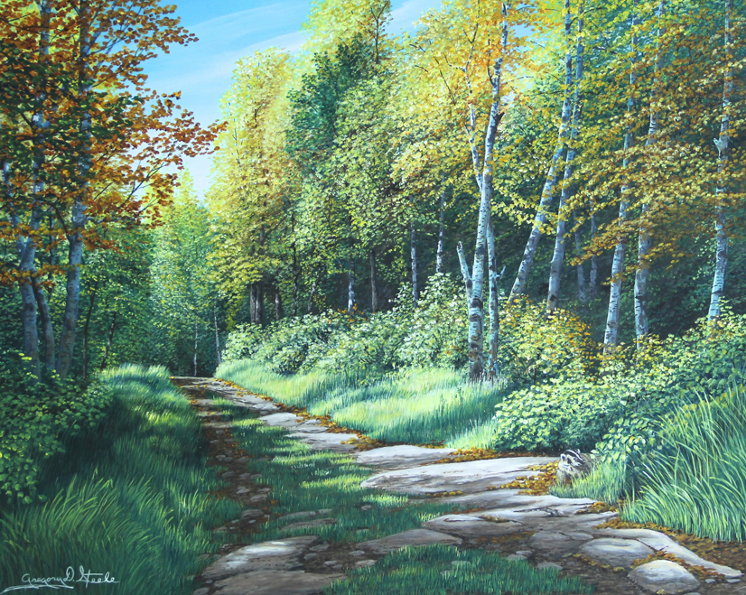 Painting of a forest path on an early fall day. Most of the shrubbery and trees are green, but they are strating to change color.