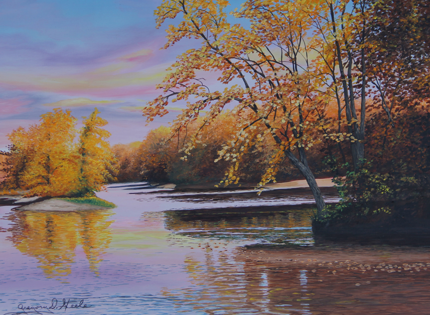 Painting of a fall scene with yellow trees reflecting off of the banks of a river