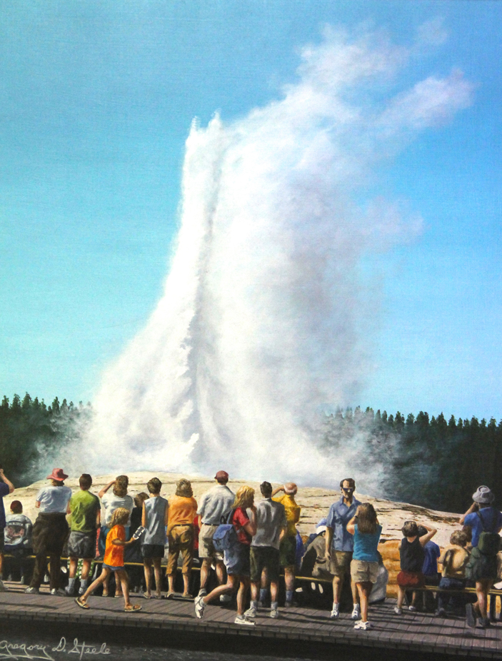 Painting of Old Faithful, a geyser in Yellowstone National Park